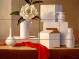 Arrangement in White by Frances Poole Ceramic Tile Mural FPA011