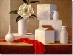 "Poole Magnolia Still Life Glass Tile Mural 24"" x 18"" - FPA011"
