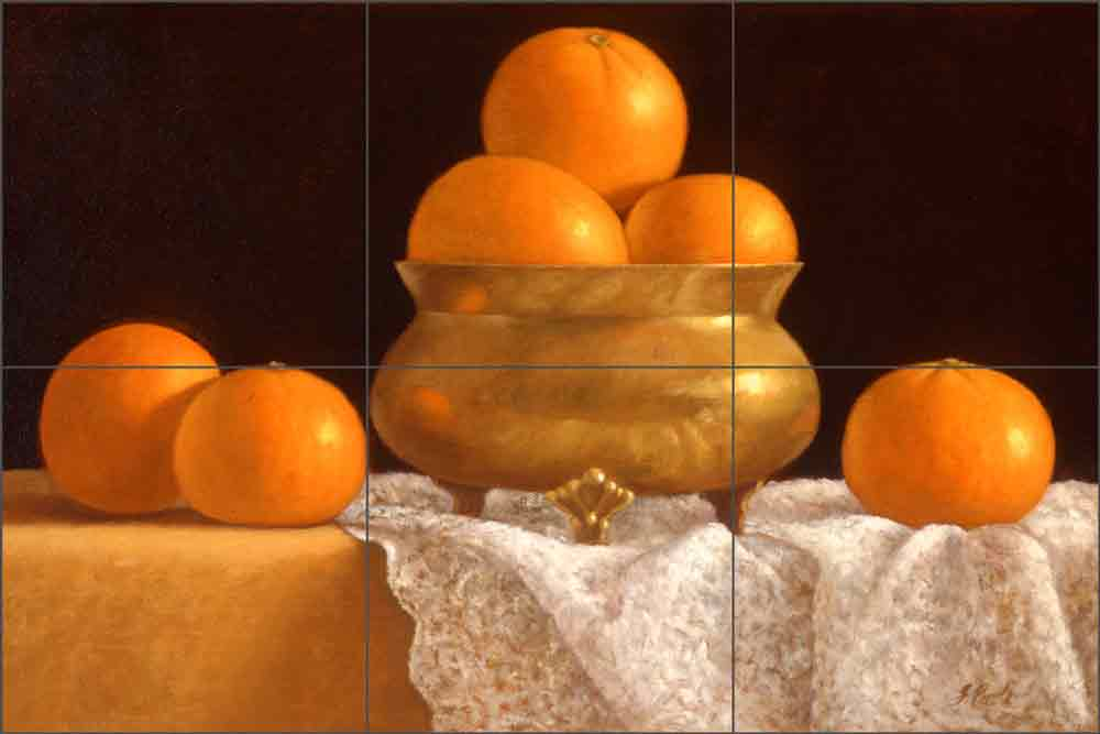 Tangerines with Gold and Lace by Frances Poole Ceramic Tile Mural FPA017