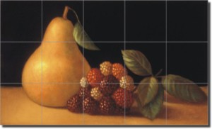 "Pear with Berries by Frances Poole -  Ceramic Tile Mural 17"" x 25.5"" Kitchen Backsplash"