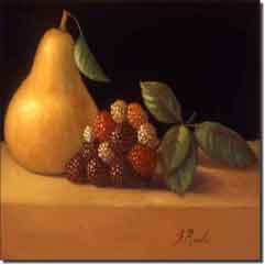 "Poole Fruit Pear Berries Ceramic Accent Tile 8"" x 8"" - FPA019AT"