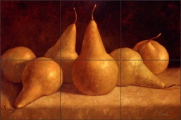 Bosc Pears by Frances Poole Ceramic Tile Mural FPA020