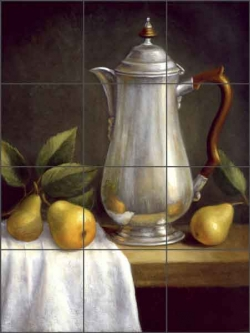 Silver Teapot by Frances Poole Ceramic Tile Mural - FPA021