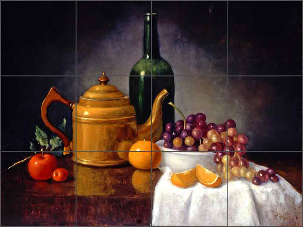 Copper Tea Kettle with Grapes by Frances Poole Ceramic Tile Mural FPA023