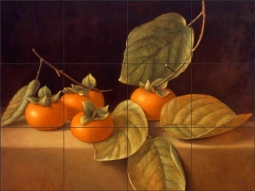 Persimmons by Frances Poole Ceramic Tile Mural FPA024