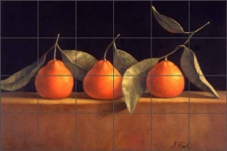 Tangerines by Frances Poole Ceramic Tile Mural - FPA025