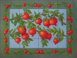 Pomegranates by Frances Poole Ceramic Tile Mural FPA027