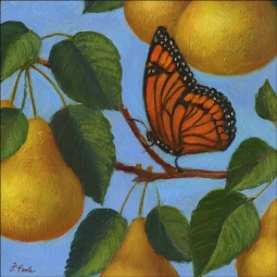 French Pears (detail) by Frances Poole Ceramic Accent & Decor Tile FPA028-2AT