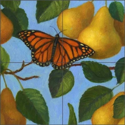 French Pears (detail) by Frances Poole Ceramic Tile Mural FPA028-3