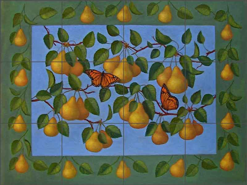 French Pears by Frances Poole Ceramic Tile Mural - FPA028