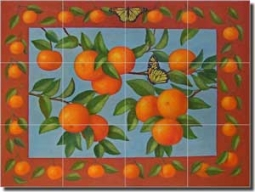 "Poole Oranges Fruit Ceramic Tile Mural 24"" x 18"" - FPA029"