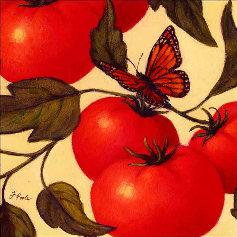 Heirloom Tomatoes (detail) by Frances Poole Ceramic Accent & Decor Tile FPA030-2AT
