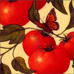 Heirloom Tomatoes (detail) by Frances Poole Ceramic Tile Mural FPA030-2