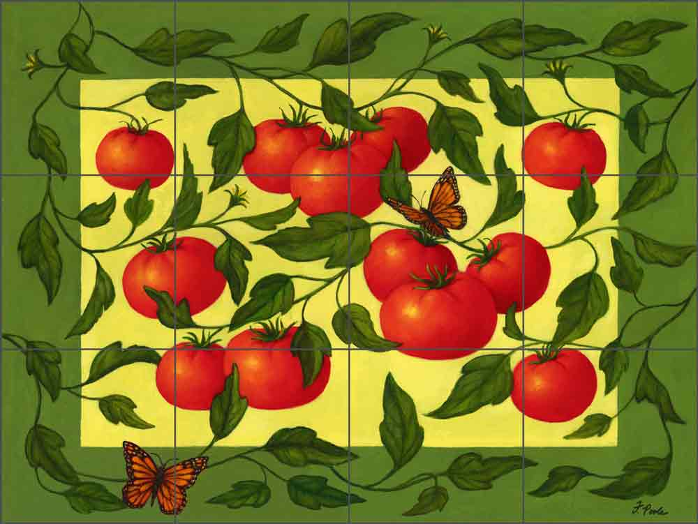 Heirloom Tomatoes by Frances Poole Ceramic Tile Mural FPA030