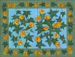 Squash Blossoms by Frances Poole Ceramic Tile Mural FPA032