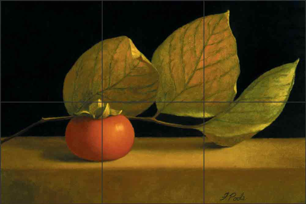 Persimmon with Leaves by Frances Poole Ceramic Tile Mural FPA033