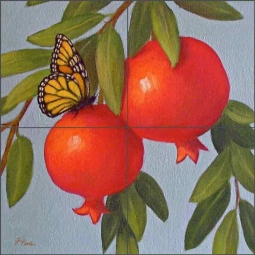 Butterfly and Persimmons by Frances Poole Ceramic Tile Mural FPA034