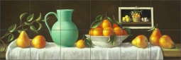 Pears in a Row by Frances Poole Ceramic Tile Mural FPA040
