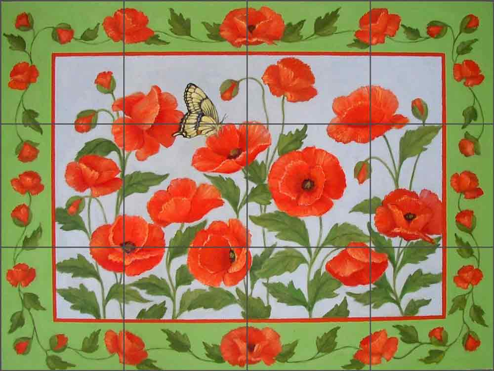 Red Poppies by Frances Poole Ceramic Tile Mural FPA043