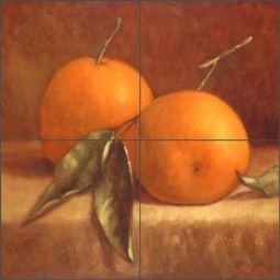 Two Tangerines by Frances Poole Ceramic Tile Mural - FPA016