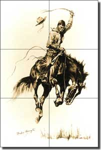 "Remington Western Cowboy Ceramic Tile Mural 12"" x 18"" - FR2003"