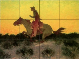 Against the Sunset by Frederic Remington Ceramic Tile Mural FR2005