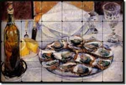 "Caillebotte Kitchen Oysters Tumbled Marble Tile Mural 24"" x 16"" - GC4004"
