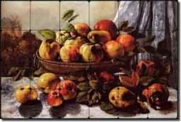 "Courbet Fruit Apples Tumbled Marble Tile Mural 24"" x 16"" - GC5001"