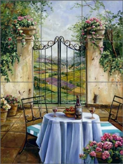 Table for Two by Ginger Cook Ceramic Tile Mural GCS002