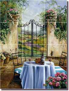 "Cook Tuscan Courtyard Glass Tile Mural 18"" x 24"" - GCS002"