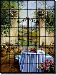 "Cook Tuscan Courtyard Tumbled Marble Tile Mural 24"" x 32"" - GCS002"