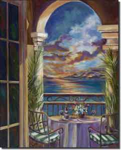 "Cook Sunset Seascape Ceramic Accent Tile 8"" x 10"" - GCS009AT"