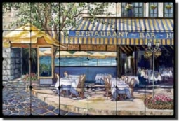 "Cook Mediterranean Cafe Tumbled Marble Tile Mural 24"" x 16"" - GCS010"