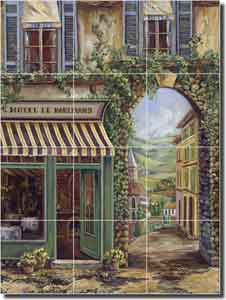 "Cook Village Cafe Ceramic Tile Mural 18"" x 24"" - GCS014"