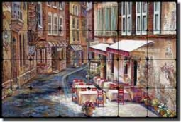 "Cook French Village Cafe Tumbled Marble Tile Mural 24"" x 16"" - GCS016"