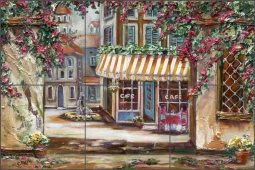 Town Square by Ginger Cook Ceramic Tile Mural - GCS020