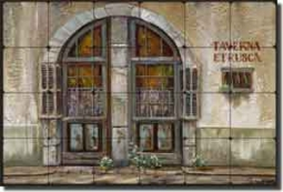 "Cook Tuscan Tavern Tumbled Marble Tile Mural 24"" x 16"" - GCS021"
