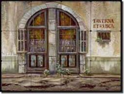"Cook Tuscan Tavern Tumbled Marble Tile Mural 24"" x 18"" - GCS021"