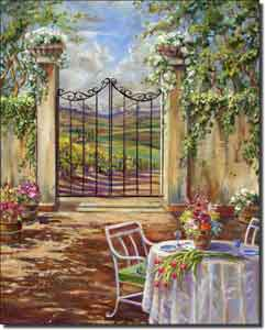 "Cook Tuscan Landscape Courtyard Ceramic Accent Tile 8"" x 10"""