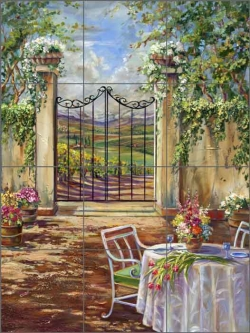 Garden Party by Ginger Cook Ceramic Tile Mural GCS041