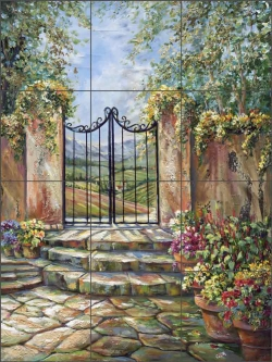 Tuscan Valley View by Ginger Cook Ceramic Tile Mural GCS042