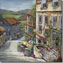 Village View by Ginger Cook - Landscape Ceramic Accent Tile