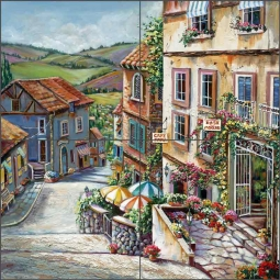 Village View by Ginger Cook Ceramic Tile Mural GCS045