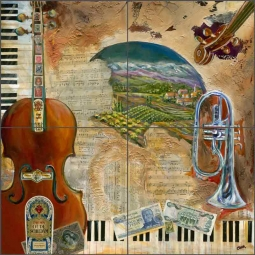 Tuscan Music by Ginger Cook Ceramic Tile Mural GCS055