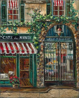 Cafe du Monde by Ginger Cook Ceramic Tile Mural - GCS056