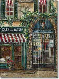 "Cook Village Cafe Glass Tile Mural 18"" x 24"" - GCS056"