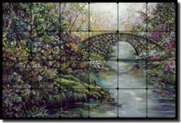 "Cook Landscape Bridge Tumbled Marble Tile Mural 24"" x 16"" - GCS063"