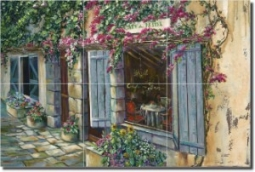 "Cafe du Midi by Ginger Cook - Village Scene Tumbled Marble Mural 16"" x 24"" Kitchen Shower Backsplash"