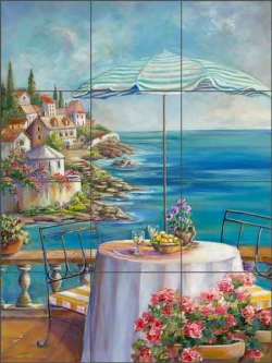 Blue Umbrella of Collioure by Ginger Cook Ceramic Tile Mural - GCS066