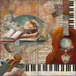 Classical Music by Ginger Cook Ceramic Tile Mural GCS076